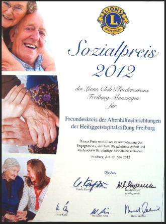 Urkunde des Lions Club Freiburg-Munzingen für den Freundeskreis Altenhilfe Freiburg von 2012.